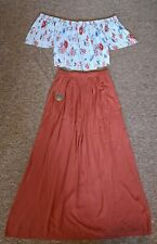 New Look Summer Boho Outfit Size 10 Maxi Skirt Floral Top
