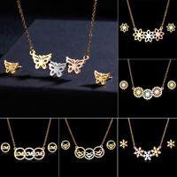 Gold Stainless Steel Butterfly Women Necklace Earrings Jewelry Set Wedding Gift