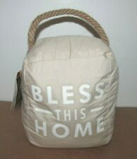 Bless This Home Farmhouse Gray Tweed Fabric Door Stopper