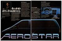 1986 FORD Aerostar Vintage Original 2 page Print AD Jacques Duval minivan Canada