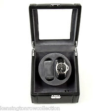 MENS GIFTS - WATCH WINDER IN BLACK LEATHER GLASS TOP CASE - 2 WATCH WINDER
