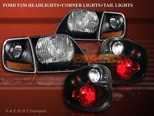 1997-00 FORD F150 HEADLIGHTS BLACK + CORNER LIGHTS + 97-00 FLARESIDE TAIL LIGHTS
