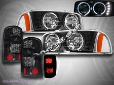 2000-2006 GMC YUKON XL 1500 BLACK HEADLIGHTS HALO W/ DARK SMOKE TAIL LIGHTS LED