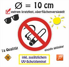 AUFKLEBER Rauchen verboten 10 cm Rauchverbot Nichtraucher inkl. Schutzlaminat