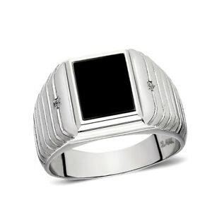 Male Solid 14K White Gold Black Onyx Ring 0.04ct Natural Diamonds Ring for Men