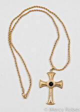 "New Pectoral Cross w/Chain (SBATS002G-B), Black Stone, 40"", Christian, Clergy"