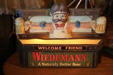 Vintage Wiedemann Beer Light Up Sign Bartender Display Bar Works RARE 1978 old