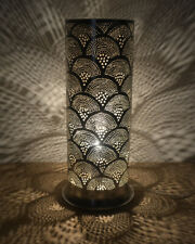 """Handcrafted 17"""" Height Egyptian Moroccan Silver Plated Brass Table Lamp Light"""