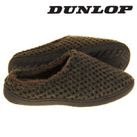Dunlop Mens Slippers Slip On Mules Faux Fur Lined Warm Fleece Brown Sizes 7-12