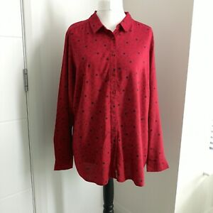 Marks and Spencer Red Shirt UK 22 Star Print Blouse Button Up Long Sleeves NEW