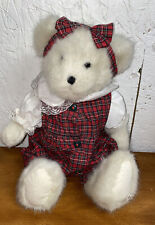 """Boyds Bear Collection 13"""" White Teddy in Cute Red Plaid Excellent Condition"""