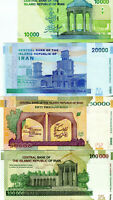 (10000,20000,50000,100000) Rials Lot 4 Banknoten Papiergeld Asien Bankfrisch UNC