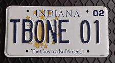 TBONE 01  - 2002 State of Indiana Issued Personalized Vanity License Plate  Mint
