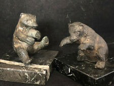 Stone Fire Dogs Pair Teddy Bear Bronze Antique French Pair of Bear
