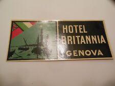 "Vintage HOTEL BRITANNIA GENOVA (Genoa) luggage label decal 1933  /  2"" x 4 3/8"""