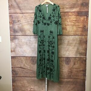 Asos Womens Size 6 Green Embroidered Button Down Maxi Dress NWT
