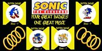 SONIC THE HEDGEHOG - 4 GREAT BADGES 1 GREAT PRICE - GREAT GIFT FOR GAMER