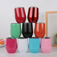 12oz Double Wall Cocktail Tumbler Wine Cup Eggshell Stainless Steel Mug With Lid