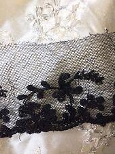 "Antique French Black Lace Silk Cotton Bridal Dolls Reenact Costume Per 1 Yard 2"""
