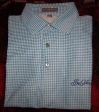 PETER MILLAR SUMMER COMFORT Polo Dress Shirt SEA ISLAND GOLF CLUB Logo Blue Sz M