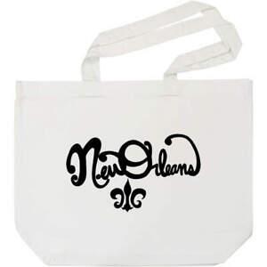'New Orleans Text' Cotton Shopper Tote Bags (BG015225)