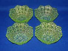 """SET 4 VINTAGE DAISY & BUTTON VASELINE GLASS FRUIT SAUCE BOWLS 4 3/4"""""""