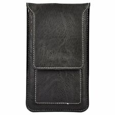 Black Leather Phone Pouch Wallet Card Case Belt Clip For iPhone Xs Max / 8 Plus