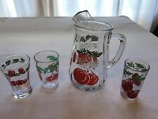 Cockeyed Tomato Juice Pitcher w/ 3 mis-matched Glasses - 1 glass is Hazel Atlas