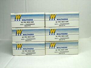WALTHERS HO SCALE 40' PS1 BOX CAR NYC PACEMAKER KIT 6 CAR SET 932-3716B