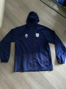 Cardiff City Adidas Staff Issue 42 Mens Blue Long Sleeve Training Jacket Size L