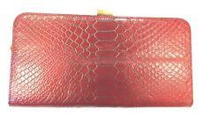 Hobo International Red Snake/Croc Embossed Gold Hinged Metal Frame Clutch Nice!