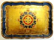 Vintage Gold-Leafed and Painted Wooden Tray From Italy - Renaissance Style