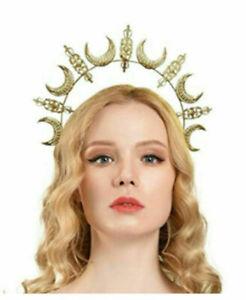 Gothic Women Halo Crown Headband  Virgin Mary Headpiece Cross Festival Party