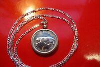 "CA Lynx Canada Centennial 1967 PL Silver Coin Pendant on a 30"" Silver Chain"