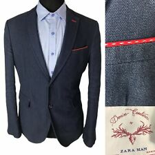 Zara Mens Blazer Suit Jacket Size 40 Blue Cotton Linen Mix Single Breasted