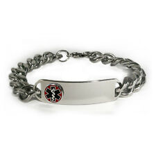 Medical Alert ID Bracelet D-Style with Raised emblem and wide chain.