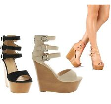 Black Nude Peach Open toe Wedge Platform High Heel Women's shoes with Buckles