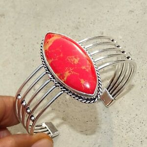 925 Silver Plated Red Copper Turquoise Bangle Cuff Bracelet Jewelry JAN03120-5