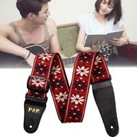 Flowers Guitar Strap Adjustable Nylon Webbing Belt for Electric Acoustic Useful