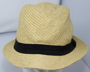 Lucky Brand Straw Hat Fedora Banded Cap Adult Fitted Size Small Tan & Black EUC
