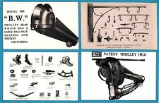 4 Tram Photos ~ Tramway Equipment: Trolley Heads, Springs, etc - From Period Ads