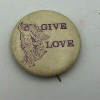 "Vintage GIVE LOVE Art Deco Nude Goddess Graphics 1-1/4"" Pin Pinback Button  P2"
