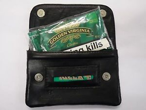Soft Leather Tobacco Pouch Organizer with Space for Money Black with Magnetic