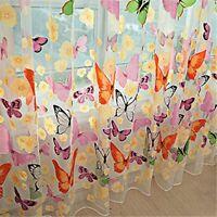 GS 1 Schmetterling Gardinen Fenster Vorhang Voile Dekoschal-Transparent 1x2m