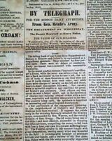 BATTLE OF BRISTOE STATION Virginia George G. Meade Win 1863 Civil War Newspaper