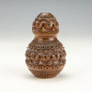 Antique Hand Carved Coquilla Nut - Travel Inkwell Ink Bottle