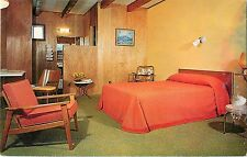 c1950s Riggs AA Motel Room, Grand Lake, Colorado Postcard - Water Damage on Edge