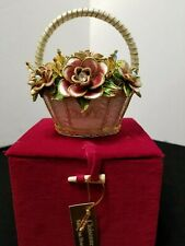 """Dillard'S Cloisonne 4"""" Flower Basket Christmas Ornament 2002 With Red Case"""