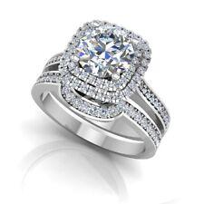 Round Cut 1.39 CT Diamond Engagement Ring White Gold Finish Silver 7 Band Set