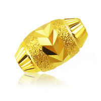 1PCS Real 999 24k Yellow Gold Carved Pattern Bead Pendant for Bracelet &Ring